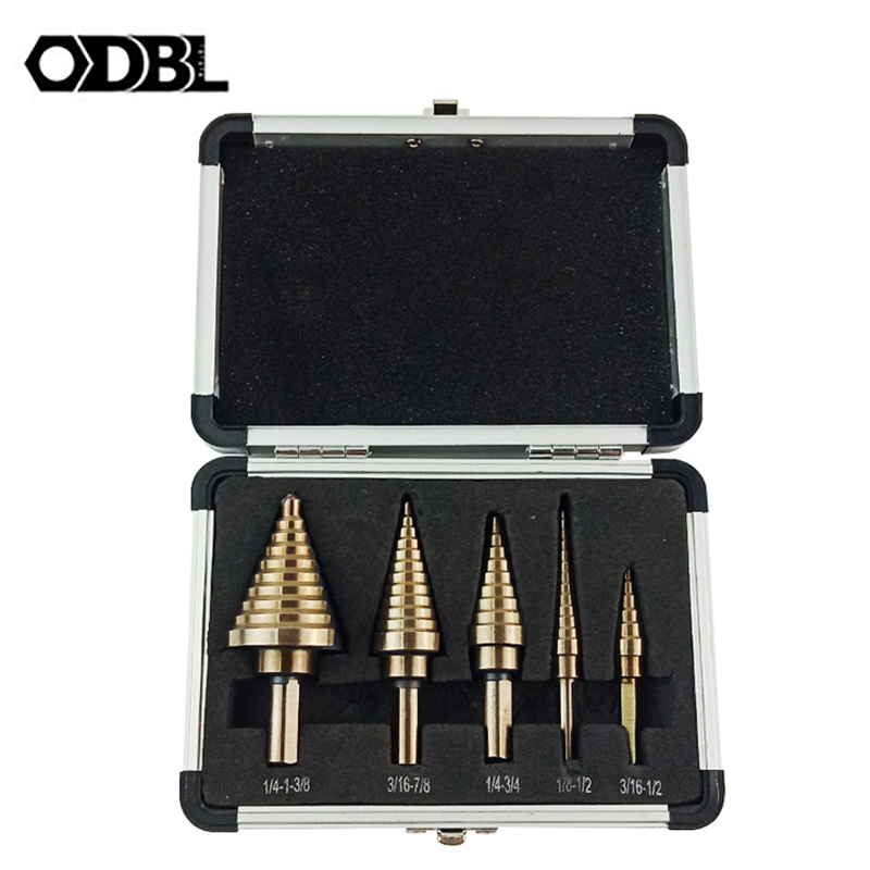 ODBL 5pcs/Set HSS Cobalt Multiple Hole 50 Sizes High Speed Steel Step Drill Bit Set With Aluminum Case Power Tool Accessories