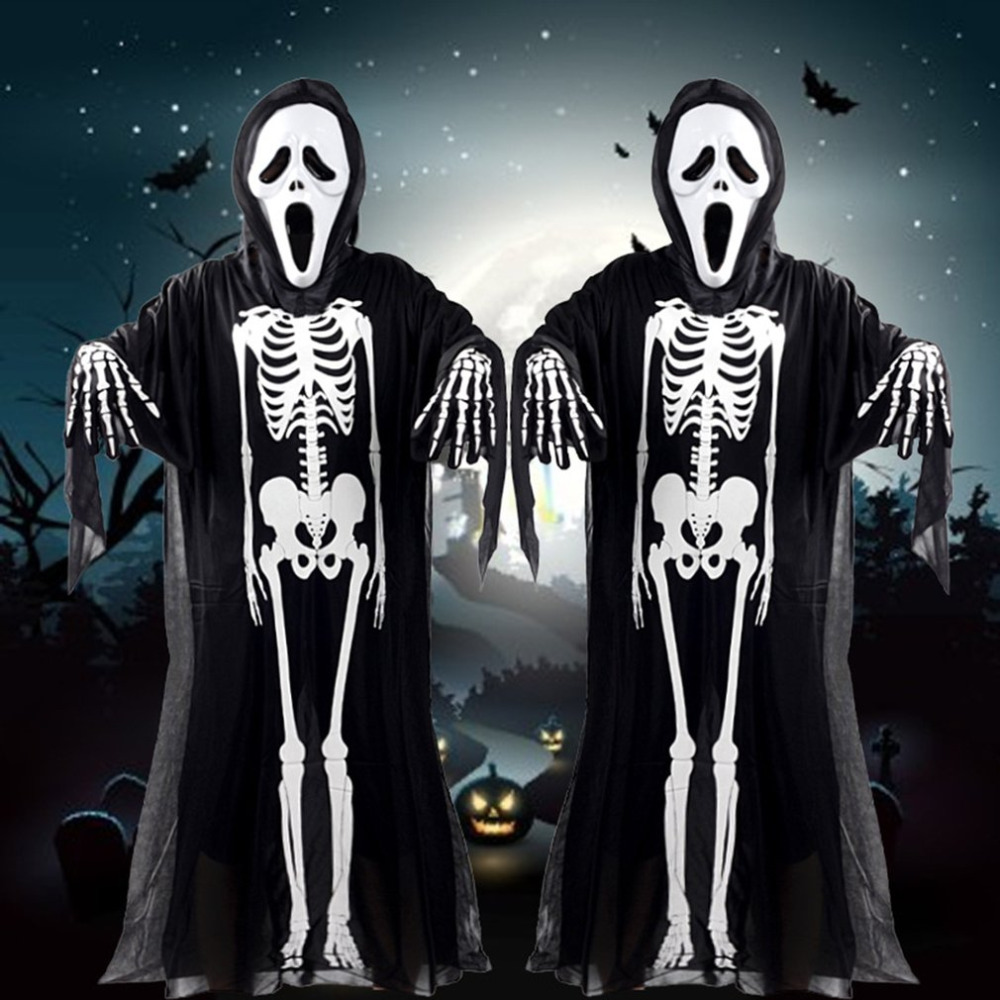 Halloween Ghost Skull Scary Skeleton Costume Fancy Gown Mask Gloves Outfit Suit