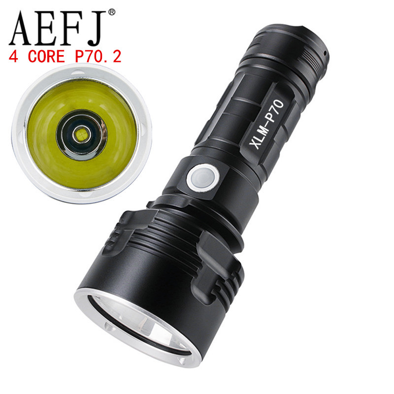 Ultra Bright LED Flashlight With 4 CoreP70.2 Lamp Bead 3 Lighting Modes Waterproof Camping Huting Light Powered By 26650 Battery