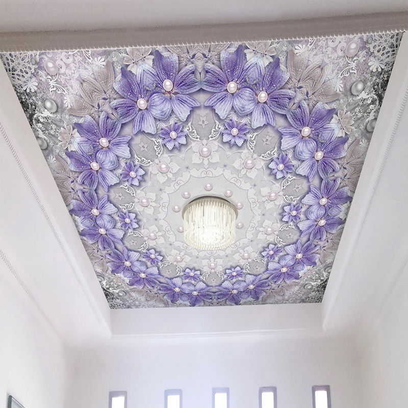 Custom Mural Wallpaper 3D Relief Purple Flowers Pearl European Style Living Room Bedroom Ceiling Murals Wall Papers Home Decor