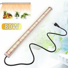 Lâmpada led de espectro completo, 80w, lâmpadas led phyto 85v 265v, para crescimento, barra de lâmpada luzes de crescimento de plantas hidropônicas, branco quente e vermelho