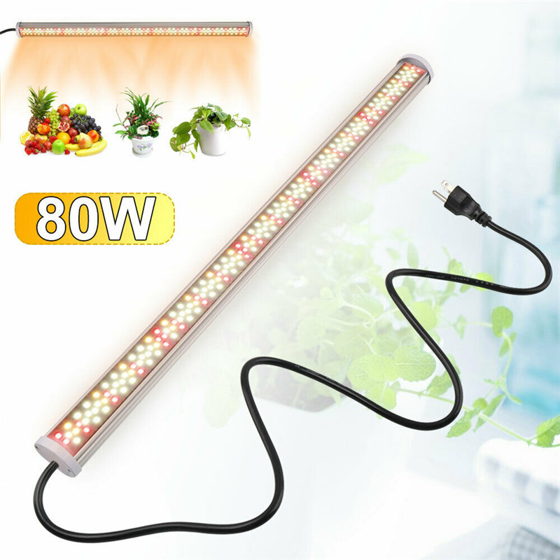 Led de espectro completo Luz de crecimiento 80W tubo LED lámparas de Fito 85 V-265 V Grow barra lámpara Led plantas hidropónicas luces de crecimiento blanco cálido rojo Espectro completo 300/600/800/900/1000/1200/1800/2000W LED Luz de cultivo 410-730nm para plantas de interior y tienda de cultivo de flores de invernadero