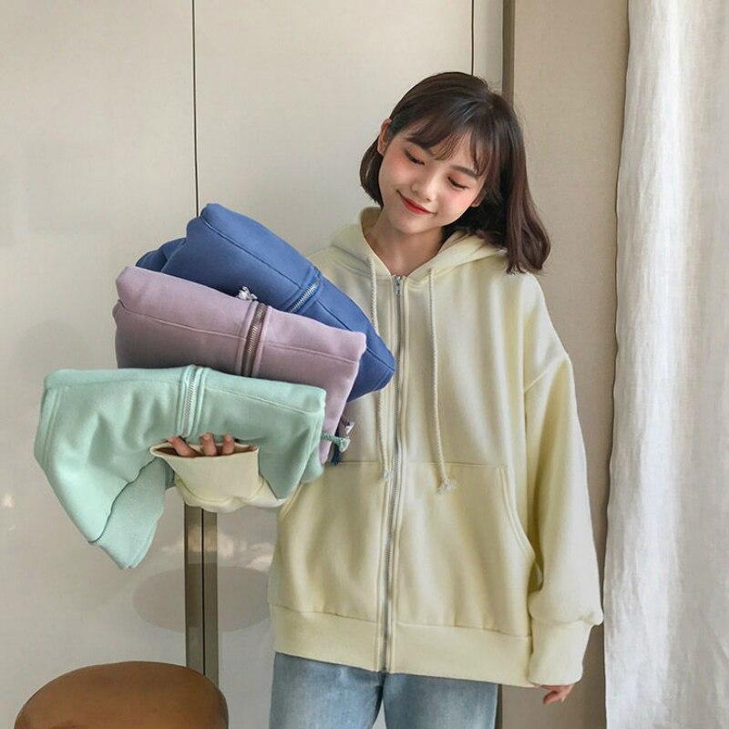 2020 Women Causal Loose Fleece Hoodies Oversize Autumn Winter Hooded Top
