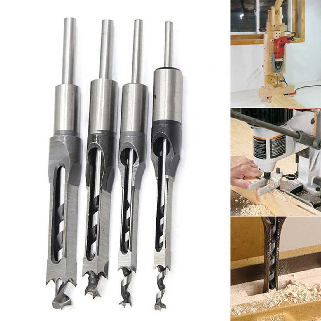 4pcs Woodworking Bit Hole Drill Carpenter Square Drill Bit Tool Guide Positioner 6.4mm 8mm 9.5mm 12.7mm