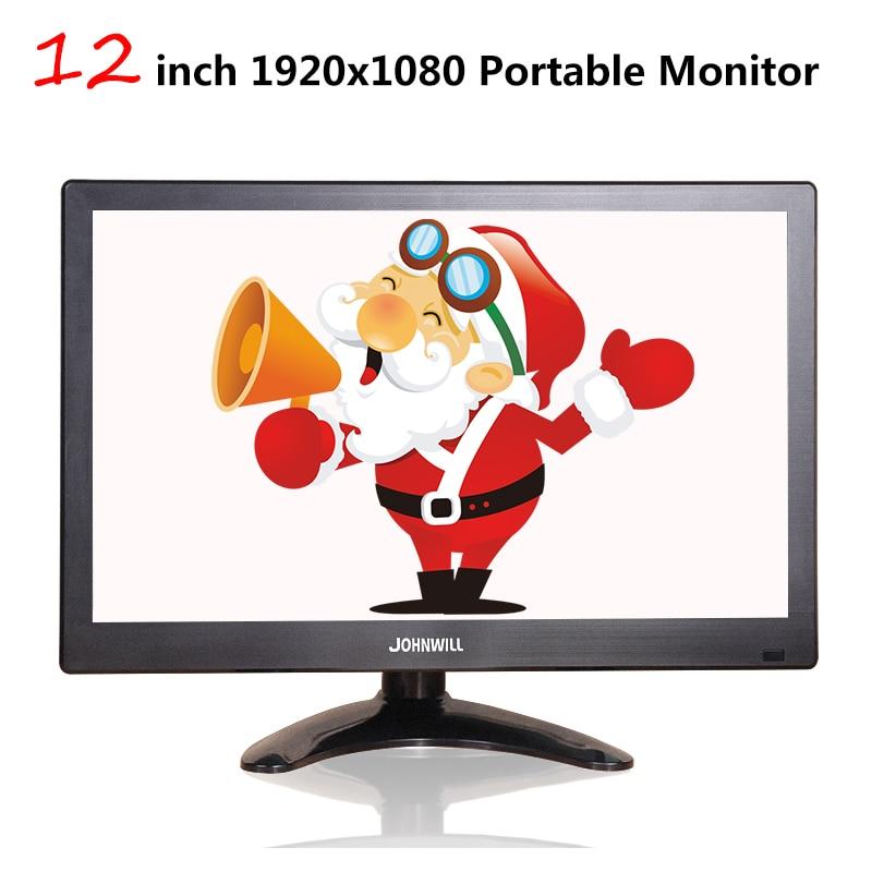 12 pouces LCD Portable moniteur HDMI Interface VGA 1920x1080 affichage de jeu pour Macbook Pro CCTV système de sécurité à domicile PS4 Xbox360