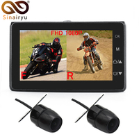 2020 T19 Motorcycle Video DVR Dash Cam Full HD 1080P+720P Front Rear View Camera Waterproof Motorcycle Camera Black Recorder Box