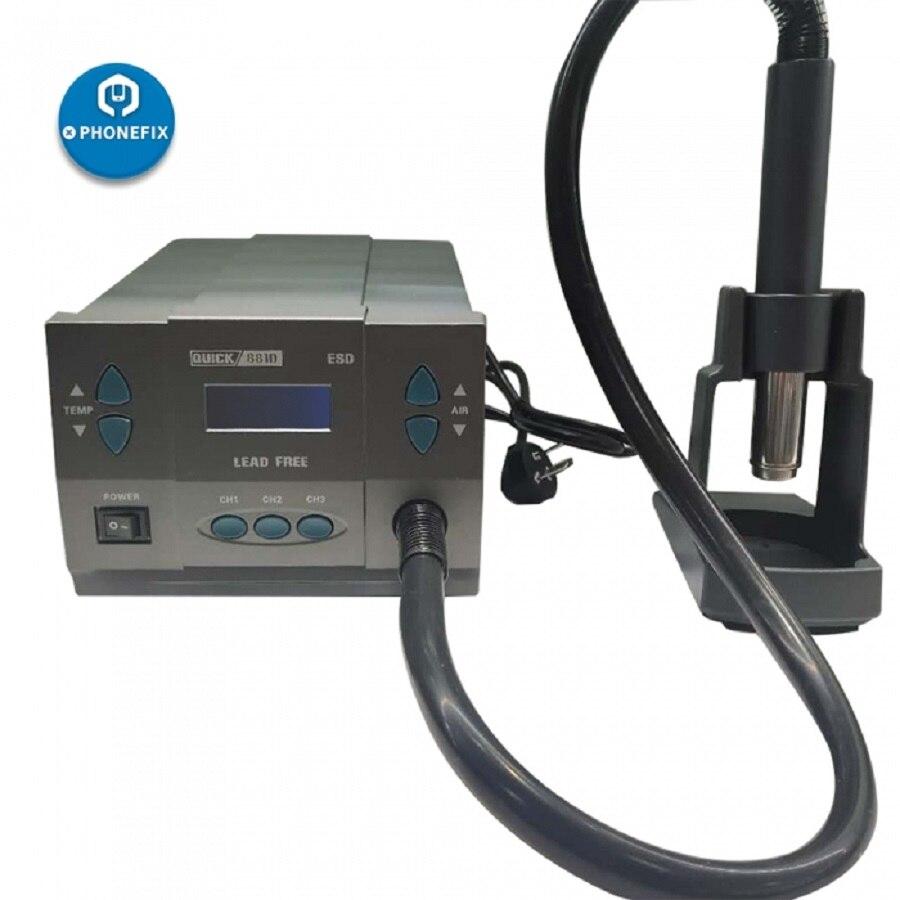 Quick 881D Hot Air Desoldering Rework Station 2-IN-1 Upgrade Version 1300W For Mobile Phone Circuit Board BGA Soldering Repair