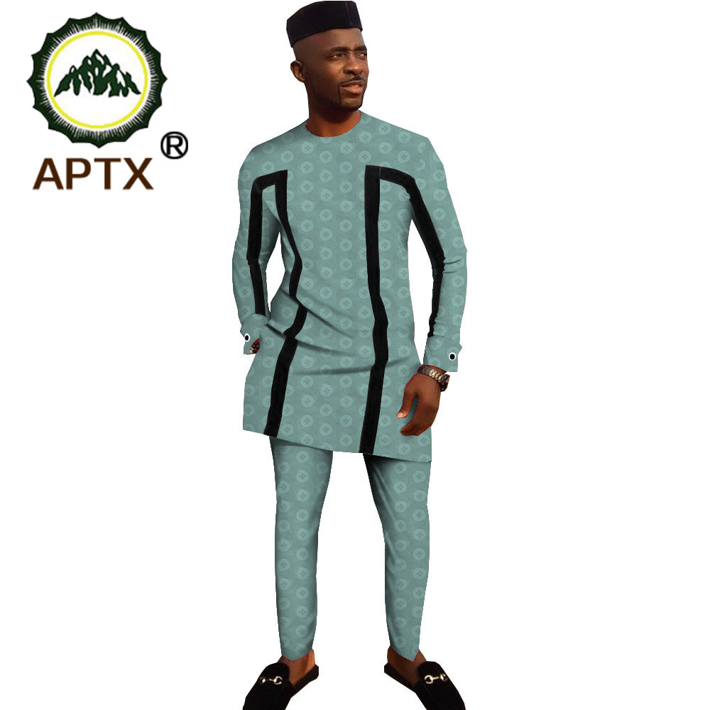 2020 African Traditional Clothing For Men 3 Piece Set Solid Dashiki Tops+ankara Pants +hat Print Bazin Riche APTX T1916003