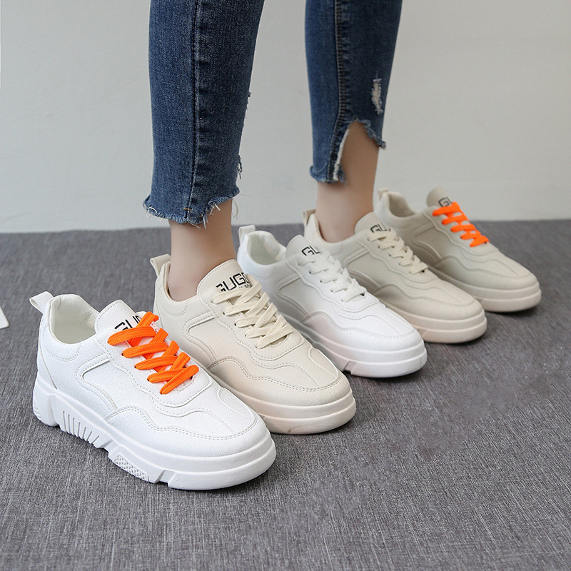 Women Shoes Fashion 2019 New Tenis Feminino Spring Split Leather Lace Up Shallow White Chunky Platform Sneakers Zapatos De Mujer