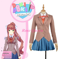Japan Amine Doki Doki Literature Club Sayori Yuri Natsuki Monika Uniform Cosplay Jackets Dress Suit Set Custom made New