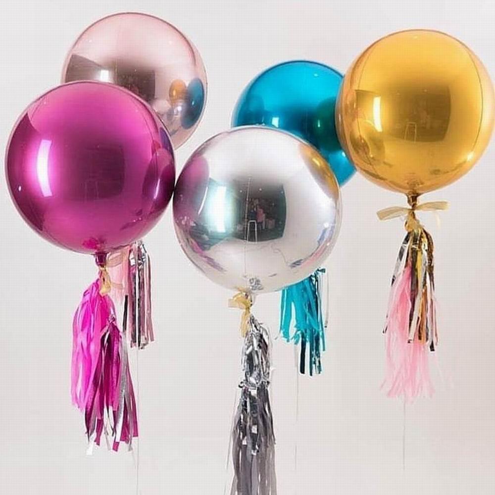 Круглые шары из алюминиевой фольги, 1 шт. 22/32 дюйма, розовое золото, 4D, металлические шары, свадебное украшение, день рождения, вечерние баллон...