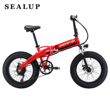 "Electric mountain bike e bike aluminum alloy 4 0 fat tire electric bicycle beach snow foldable electric bike 20 inch e bicycle cheap SEALUP 251 - 350w Lithium Battery 20"" 30km h Brushless 31 - 60 km One Seat Standard Type GPS--02002EA disc brake 7 speed"