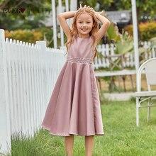 Пыльный розовый цветок девушка платья для свадьбы элегантный A Line O вырез без рукавов блестки атлас формальный вечерние платье чай длина EK00877