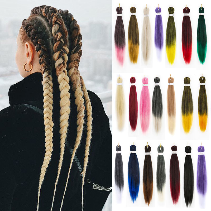 EZ 24inch Jumbo Braids Long Strands Ombre Crochet Braid Synthetic Braiding Hair Extensions For Woman Blonde Pink