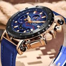 LIGE ใหม่ Mens นาฬิกายี่ห้อ Big Dial นาฬิกาควอตซ์หนังสีฟ้ากีฬากันน้ำ Chronograph นาฬิกาสำหรับชาย