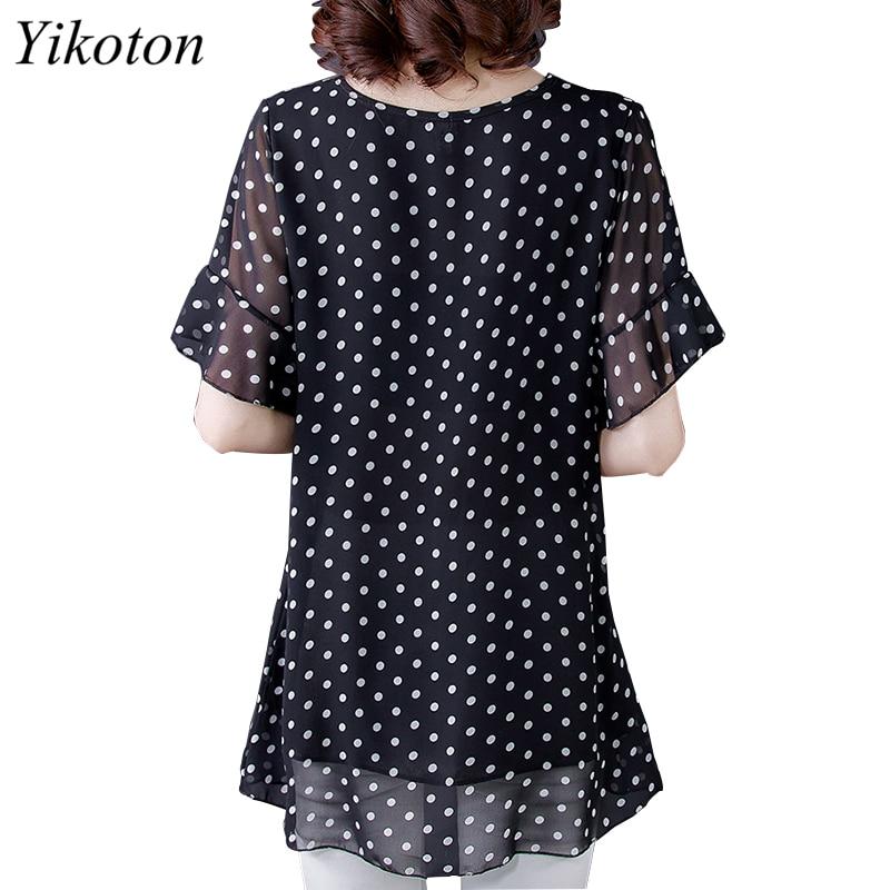 Summer Dress Shirts Women Blouse And Top Loose Plus Size Tunic 2021 Fashion Blouses Short Sleeve Chiffon Print O-Neck Feminine 2