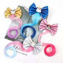 3.5 Leather Hair Bows Hairpins for Girls Colorful Long Pigtails Clip with Unicorn Children Hairgrip Kids Accessories