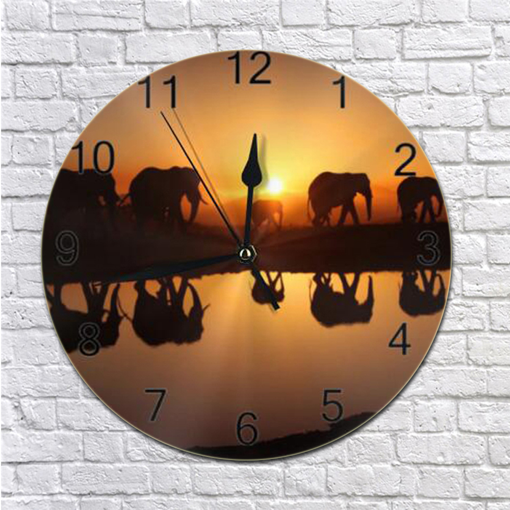 25CM Elephant Wall Clock Numeral Digital Dial Mute Silent Non-Ticking Battery Operated Clocks Decor Art For Living Room Kitchen