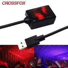 CROSSFOX автомобильный интерьерный вращающийся светильник звездное небо светодиодный проектор лампа авто USB атмосфера лазерный Ночник светил...