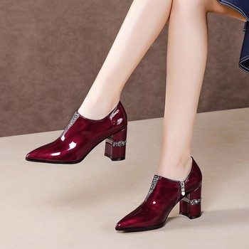 MLJUESE 2020 women pumps autumn spring soft cow leather pointed toe zippers crystal high heels lady shoes party size 42