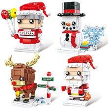 X8914 один 1 шт Рождественский Санта Клаус Лось снеговик дерево модель строительные блоки модель подарок игрушки для детей Рождество