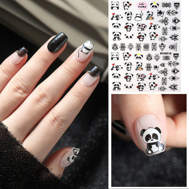 New arrived 3D Nail Stickers Decals 1 sheet panda cake dog  Summer Adhesive Stickers Nail Art Tattoo Decoration Z0170
