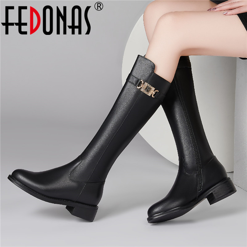 Fashion Round Toe Thick Heel Casual Shoes Zipper Denim Mid-Calf Ankle Boots Retro Over The Knee Boots 2019 Winter Shoes TEELONG Women Flat Knee High Boots
