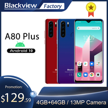 Blackview A80 Plus 4GB 64GB Octa Core Smartphone 6.49 schermo HD Quad fotocamera posteriore telefono cellulare 4680mAh Android 10 NFC 4G LTE