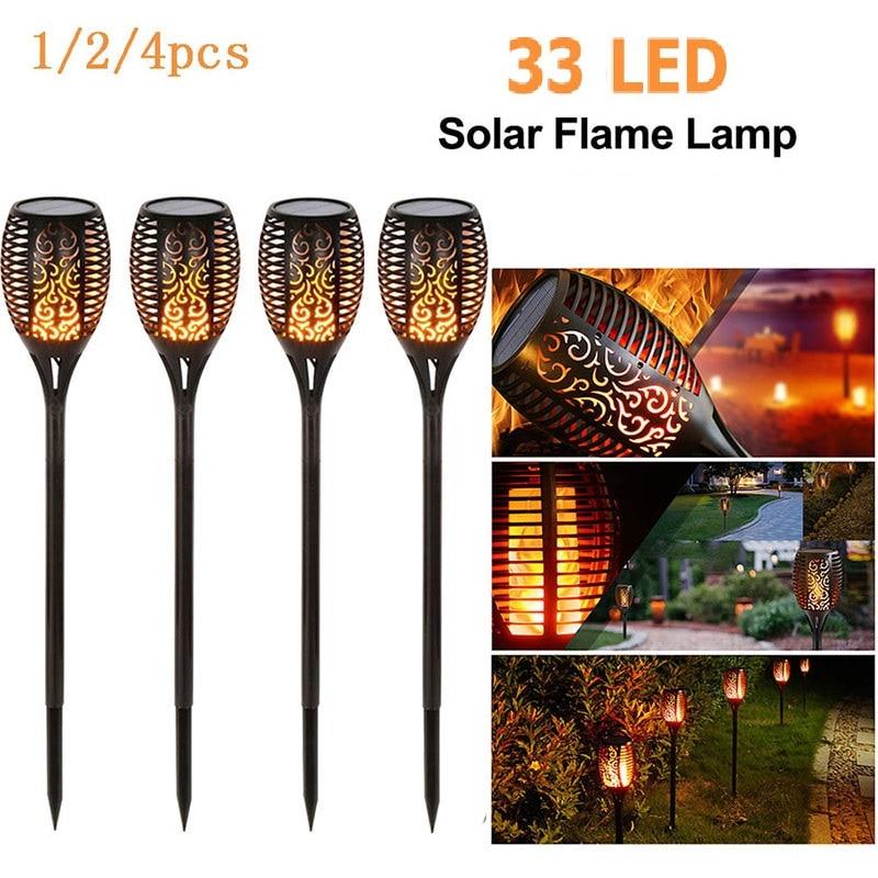33LED Wasserdicht Flackern Flamme Solar Taschenlampe Licht Garten Lampe Außen Landschaft Dekoration Rasen Licht LED Solar Flamme lampe
