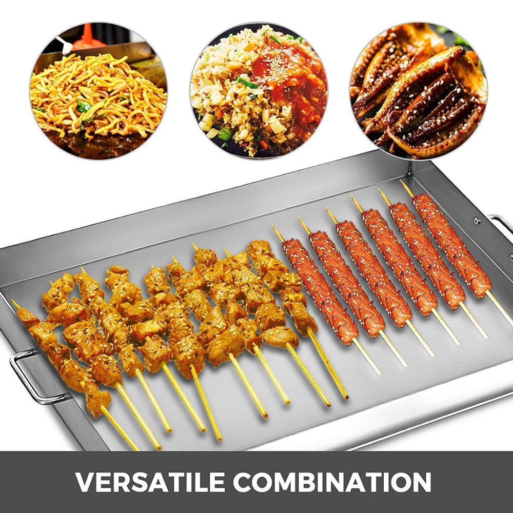 2 Adjustable Burners Stove 32 x 17 Double Burner Stove Griddle Flat Top Stainless Steel with 4 Griddle Spatula & Scraper - 6