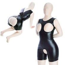 Sexy cupless bodysuit lingerie couro oco aberto virilha catsuit punk clubwear sm bondage flertando escravo slutty sexo feminino brinquedo