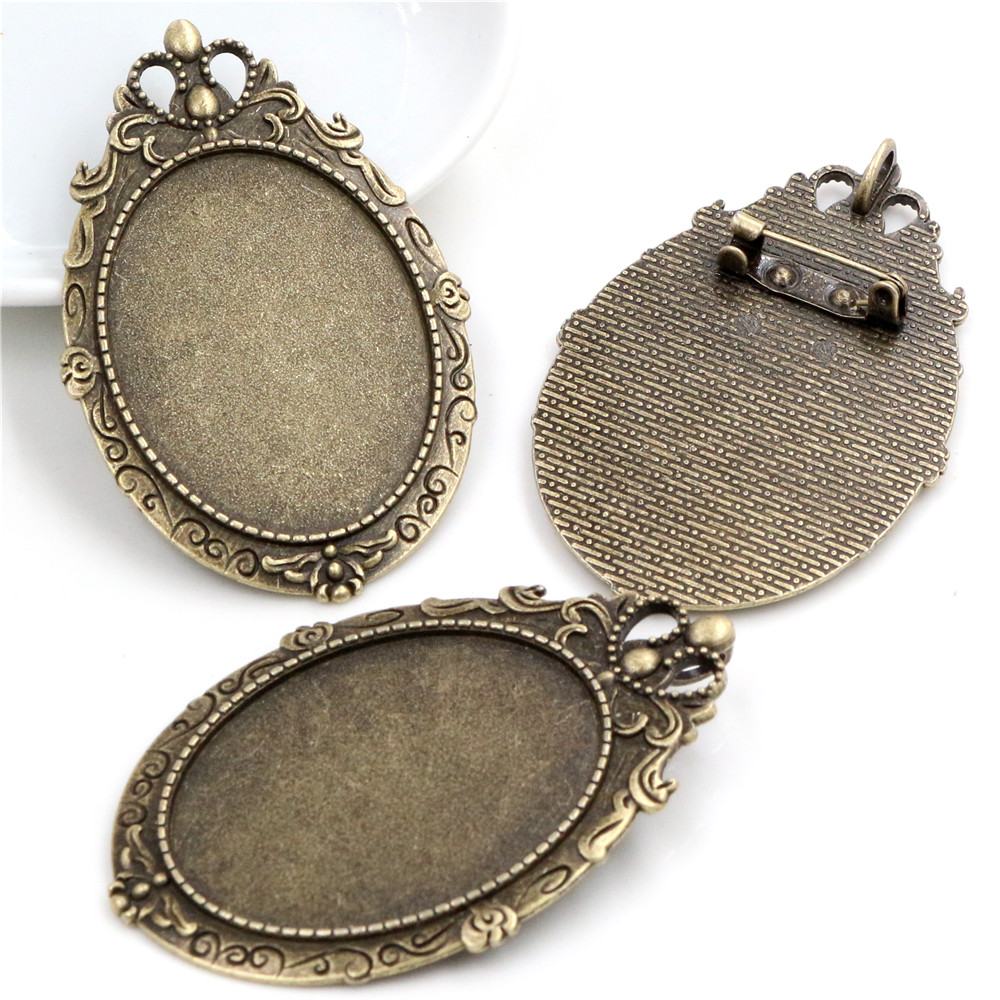 New Fashion  5pcs 30x40mm Inner Size Antique Bronze Pin Brooch Pierced Style Base Setting Pendant (B1-14)