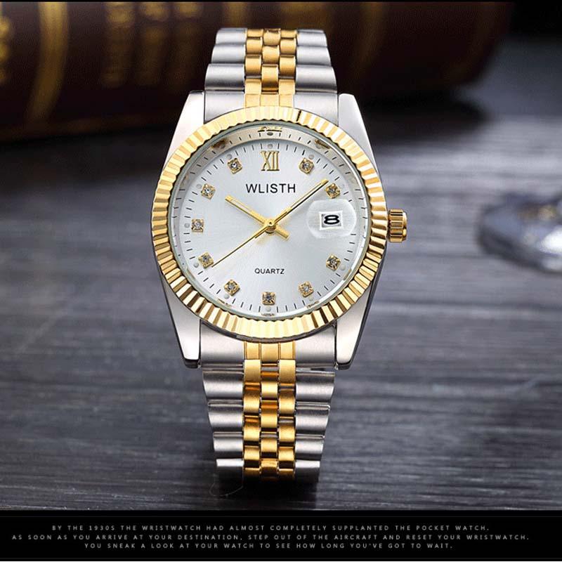 Wlisth мужские брендовые Дата Водонепроницаемый кристаллы Для мужчин часы Сталь деловые наручные часы для влюбленных Одежда подарок часы
