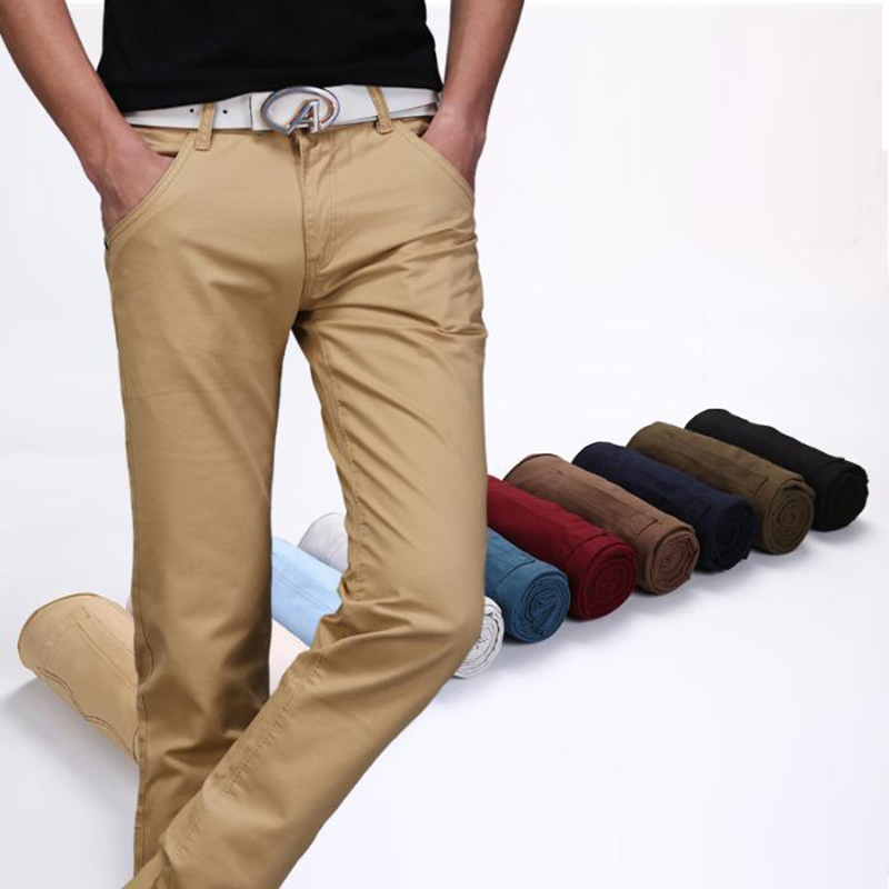 New Mens Casual Business Pant Stretch Elastic Fabric Slim Straight Pant Black Blue Khaki Big Size 38