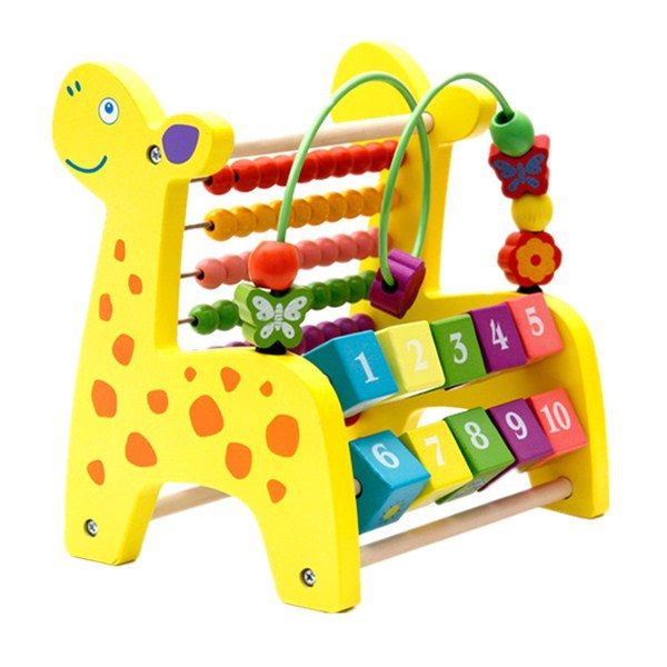 Wooden CHILDREN'S Toy Deer Bead-stringing Toy Knock Piano Calculation Frame Multi-functional Intelligence Early Childhood Educat