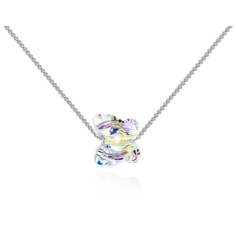 BAFFIN oryginalne kryształy Swarovskiego motyl koralik naszyjnik wisiorek dla kobiet dziewczyn śliczne biżuteria kolor srebrny łańcuch obroże