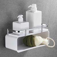 Punch free Double Layer Bathroom Shelf Shower Gel Shampoo Organizer Kitchen Wall Mounted Spice Rack Cleaning Brush Storage Box|Storage Shelves & Racks| |  -