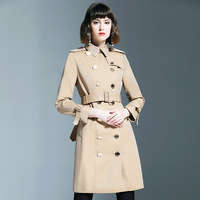 BURDULLY Women Spring Autumn Trench Coat Fashion Casual Long Sleeve Slim Double Breasted Female Clothes Long Trench Windbreaker