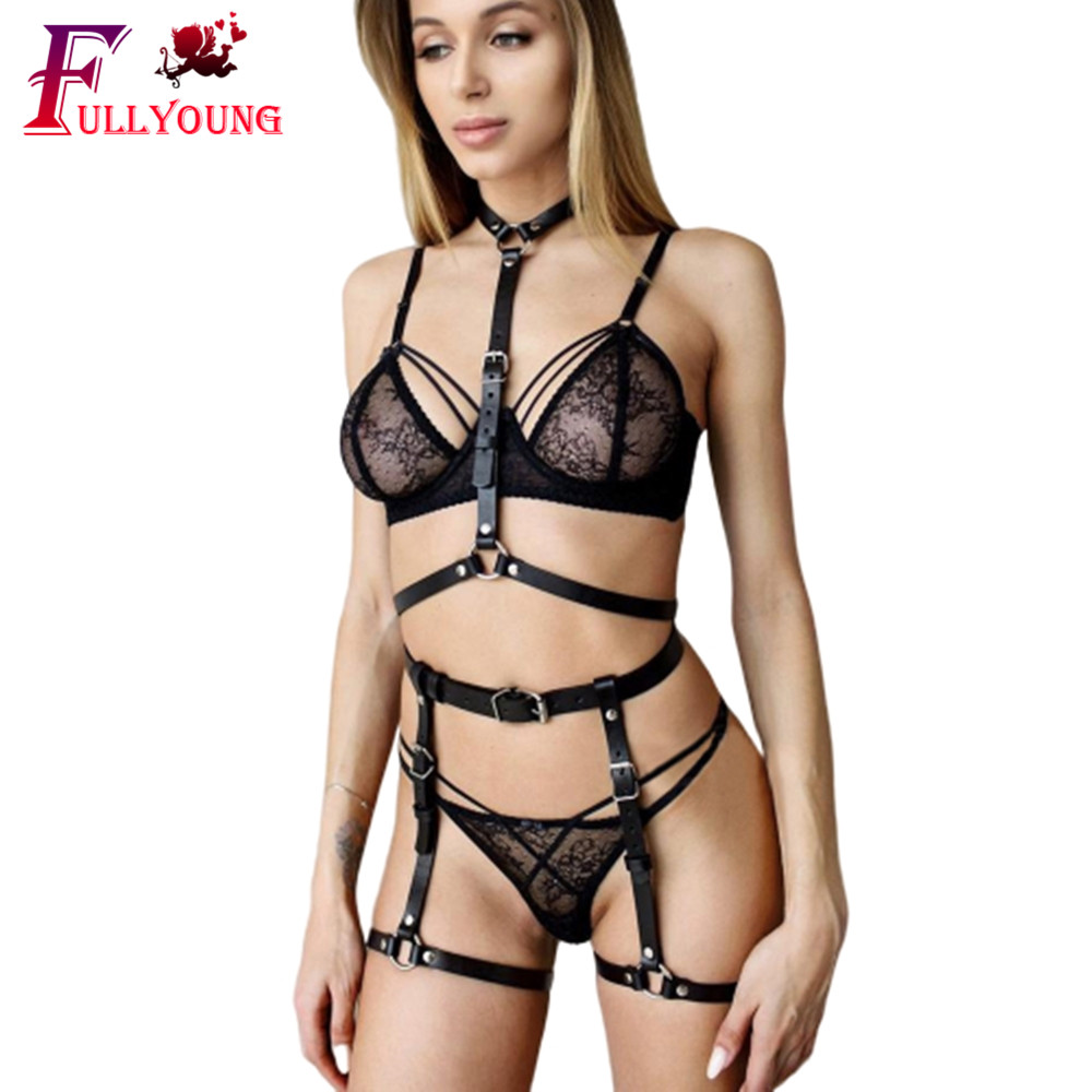 Fullyoung Leather Harness Belt Body Bondage Garter Erotica Sets Adjustable Cage Bondage Waist Leg Gothic Harness Leather Punk
