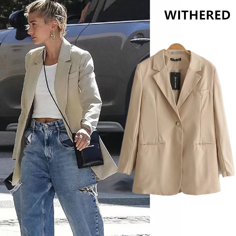 Withered England Vintage Haley Same Solid Linen Notched Blazer Feminino Blazer Women Blazer Mujer 2019 Women Blazers And Jackets