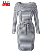 Striped ladies dress Bow Autumn And Winter Sexy Striped Lace Round Neck Long Sleeve Dress vestido de verano de las mujeres #ZD(China)
