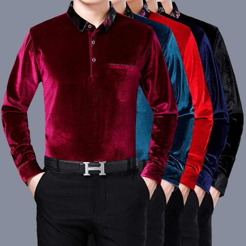 Male Gold Velvet  Shirt New Fashion Spring Autumn Mens Soft Velvet Clothes Plain Long Sleeve Velvet Shirts