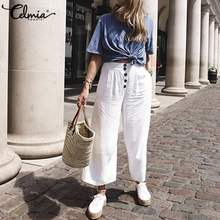 Summer Wide Leg Pants Women Cotton Linen Elastic High Waist Trousers Celmia Casual Solid Loose Long Pant Buttons Pantalon Femme(China)