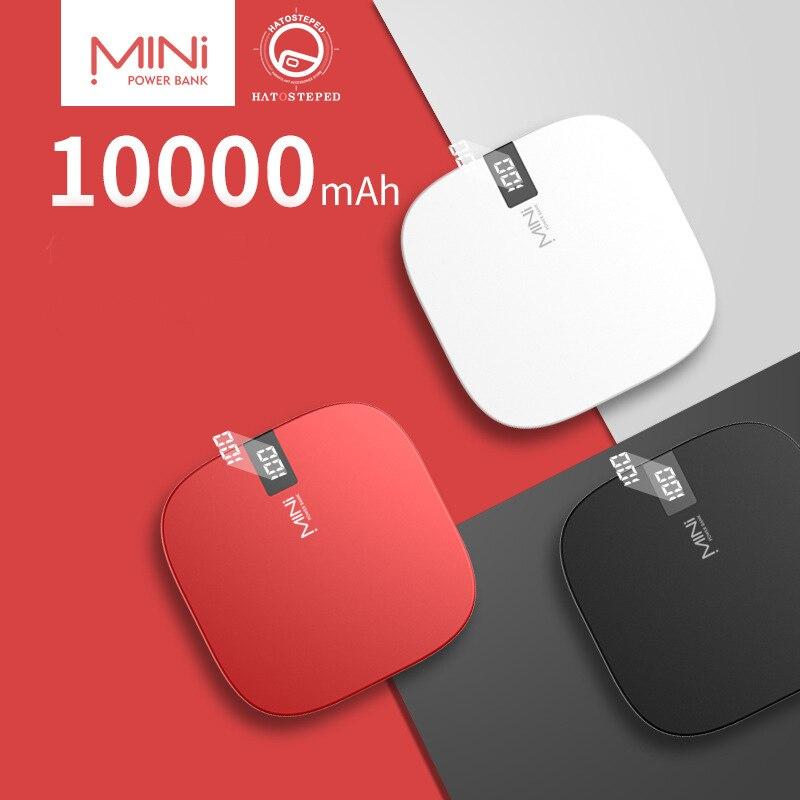 10000 mah mini banco de potência tipo-c & iluminação entrada rápida display digital powerbank duplo usb saída rápida carregamento portátil tesouro
