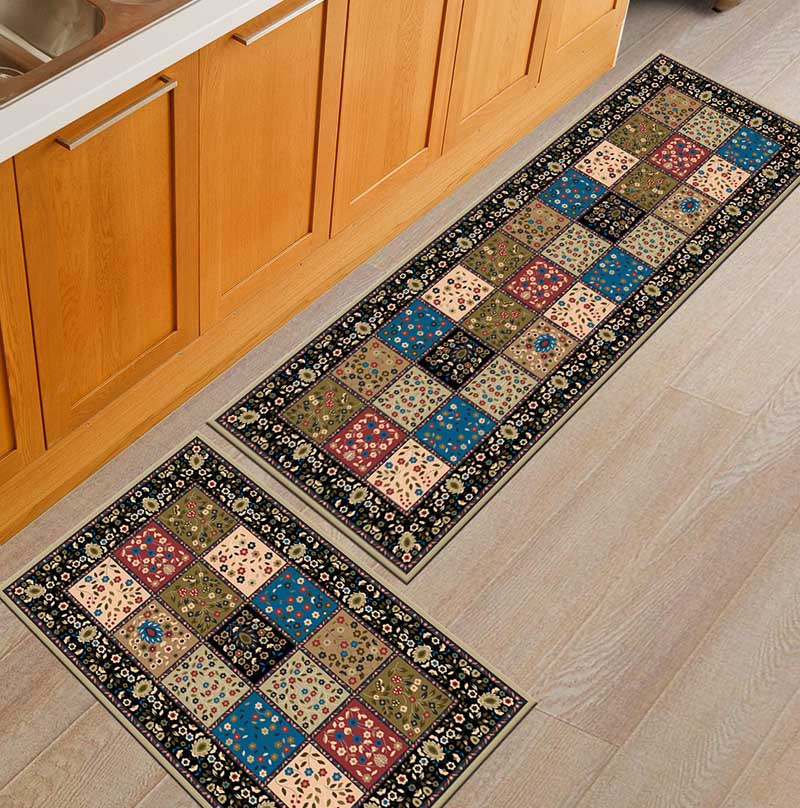 2PCS Kitchen Mats Made With Polyester Material for Modern Kitchen Balcony and Hallway Floor