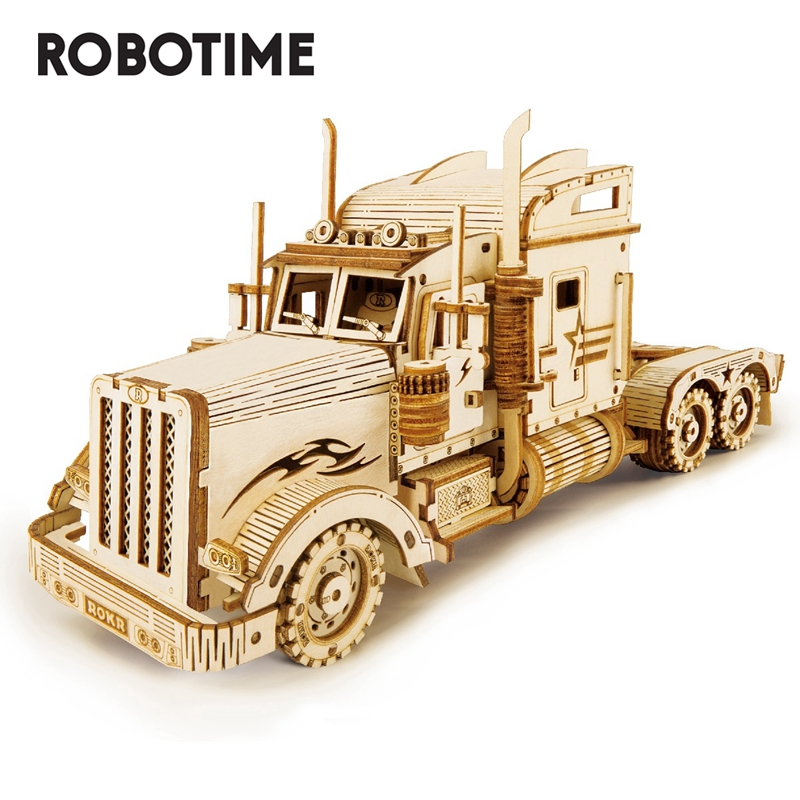 Robotime 1:40 286pcs Classic DIY Movable 3D America Heavy Truck Wooden Puzzle Game Assembly Toy Gift For Children Adult MC502