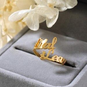 Podwójny pierścionek z imionami niestandardowe dwa pierścionek z imionami s spersonalizowane imiona dla dzieci pary nazwy na pierścieniu nowy prezent biżuteria ze stali nierdzewnej Bague