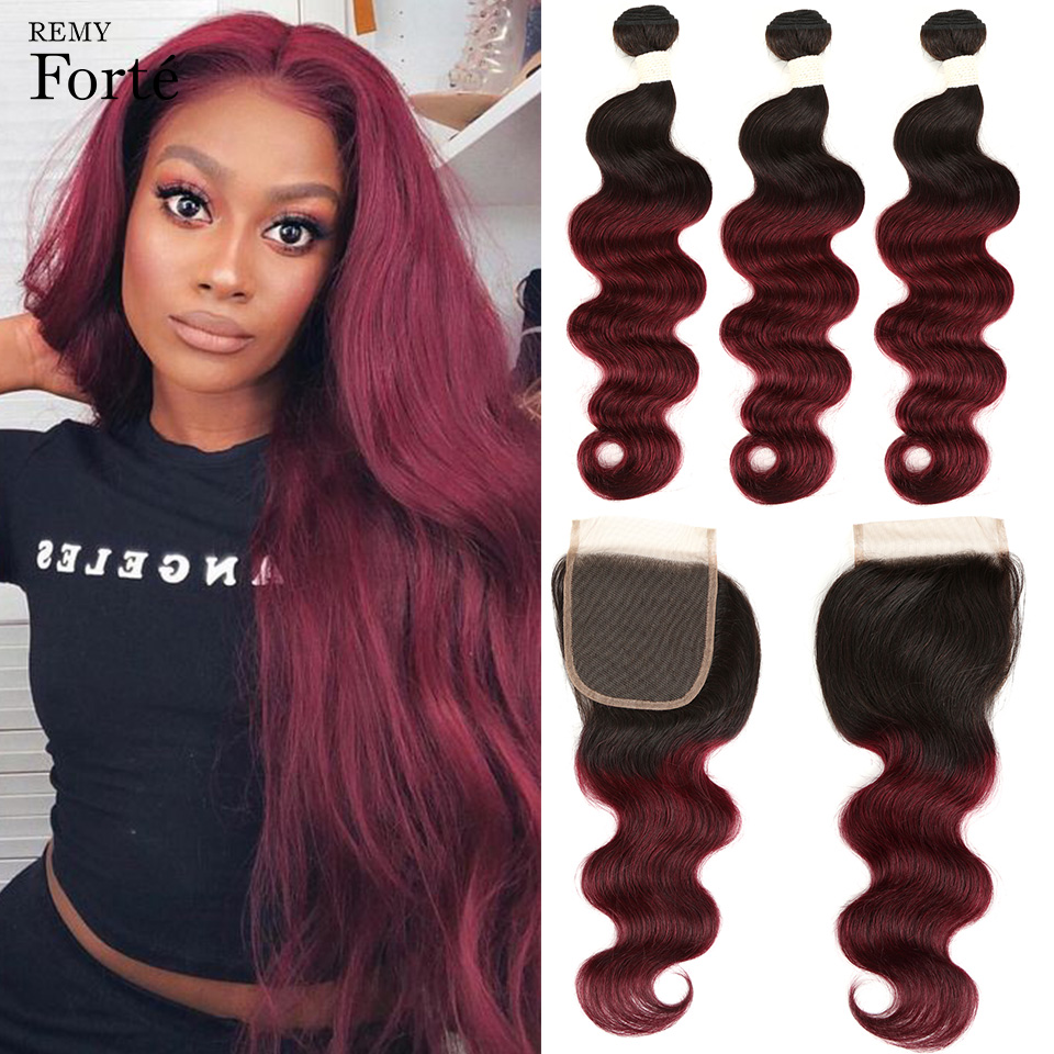 Remy Forte 30 Inch T1B/99J Ombre Bundles With Closure Brazilian Hair Weave Bundles Body Wave RED Bundles With Closure 3 Bundles
