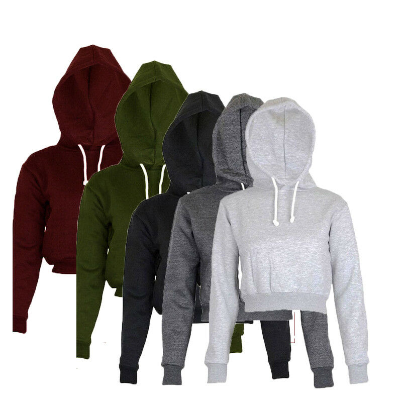2019 Fashion Autumn Women Casaul Plain Hangover Crop Top Hooded Full Hoodie Sweatshirt Sports Wear 5 Colors