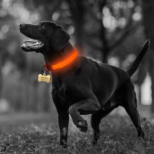 Nylon LED Pet dog Collar,Night Safety Flashing Glow In The Dark  3